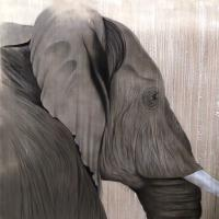 ELEPHANT-12 elephant- Thierry Bisch Contemporary painter animals painting art  nature biodiversity conservation