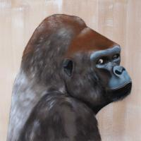SILVERBACK gorilla-silverback Thierry Bisch Contemporary painter animals painting art  nature biodiversity conservation