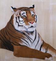 TIGER Tiger-Royal-Bengal-Tiger- Thierry Bisch Contemporary painter animals painting art  nature biodiversity conservation