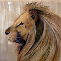 KING LION lion Animal painting by Thierry Bisch pets wildlife artist painter canvas art decoration