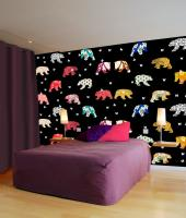 Bedroom-Bears-Patterns animal-painting Thierry Bisch painter animals painting art decoration hotel design interior luxury nature biodiversity conservation