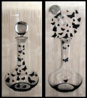 The Wine Spirit Carafe-butterfly Thierry Bisch painter animals painting art decoration hotel design interior luxury nature biodiversity conservation