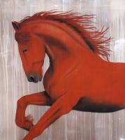 ETALON ROUGE arabian-thoroughbred-horse-red Thierry Bisch painter animals painting art decoration hotel design interior luxury nature biodiversity conservation
