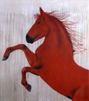 RED-HORSE-2 arabian-thoroughbred-horse-red Thierry Bisch Contemporary painter animals painting art  nature biodiversity conservation