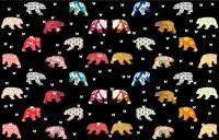 Patterns Bears on Black animal-painting Thierry Bisch Contemporary painter animals painting art  nature biodiversity conservation