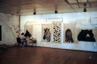 Atelier goat-black Thierry Bisch Contemporary painter animals painting art  nature biodiversity conservation