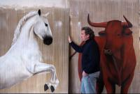 Cheval red bull TB Red-bull-thoroughbred-horse-Lipizzan Thierry Bisch Contemporary painter animals painting art  nature biodiversity conservation