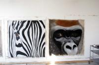 Closeup monkey-ape-zebra Thierry Bisch painter animals painting art decoration hotel design interior luxury nature biodiversity conservation