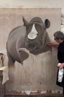 Black Rhino rhinoceros-black-rhino-diceros-bicornis-threatened-endangered-extinction Thierry Bisch painter animals painting art decoration hotel design interior luxury nature biodiversity conservation