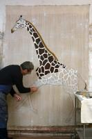 Giraffe in Progress giraffe-nubian-threatened-endangered-extinction- Thierry Bisch painter animals painting art decoration hotel design interior luxury nature biodiversity conservation