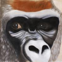 SILVERBACK monkey-ape Thierry Bisch painter animals painting art decoration hotel design interior luxury nature biodiversity conservation