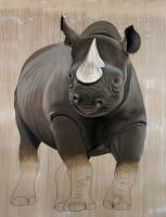 DICEROS BICORNIS rhinoceros-black-rhino-diceros-bicornis-threatened-endangered-extinction Thierry Bisch painter animals painting art decoration hotel design interior luxury nature biodiversity conservation