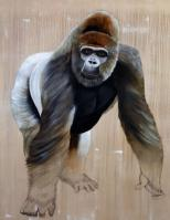 Gorilla gorilla gorilla gorilla-ape-silverback-threatened-endangered-extinction Animal painting by Thierry Bisch pets wildlife artist painter canvas art decoration