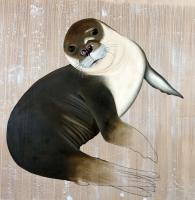 MONACHUS MONACHUS seal%20monk%20mediterranean%20threatened%20endangered%20extinction%20monachus Thierry Bisch painter animals painting art decoration hotel design interior luxury nature biodiversity conservation