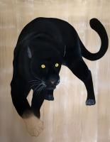 PANTHERA PARDUS MELAS panthera-pardus-melas-black-panther-delete-threatened-endangered-extinction Thierry Bisch painter animals painting art decoration hotel design interior luxury nature biodiversity conservation