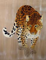 PANTHERA PARDUS ORIENTALIS   Animal painting, wildlife painter.Dogs, bears, elephants, bulls on canvas for art and decoration by Thierry Bisch
