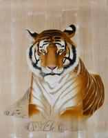 PANTHERA TIGRIS   Animal painting, wildlife painter.Dogs, bears, elephants, bulls on canvas for art and decoration by Thierry Bisch