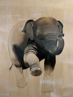 ELEPHAS-MAXIMUS   Animal painting, wildlife painter.Dogs, bears, elephants, bulls on canvas for art and decoration by Thierry Bisch
