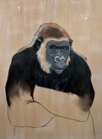 GORILLA-Gorilla animal-painting Thierry Bisch painter animals painting art decoration hotel design interior luxury nature biodiversity conservation
