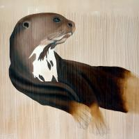 LOUTRE-GÉANTE Giant-otter-PTERONURA-BRASILIENSIS Thierry Bisch painter animals painting art decoration hotel design interior luxury nature biodiversity conservation