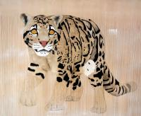 CLOUDED LEOPARD   Animal painting, wildlife painter.Dogs, bears, elephants, bulls on canvas for art and decoration by Thierry Bisch
