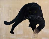 PANTHERA-PARDUS-MELAS panthere-noire-panthera-pardus-melas-delete-extinction-protégé-disparition Thierry Bisch artiste peintre contemporain animaux tableau art  nature biodiversité conservation