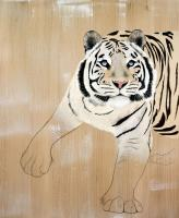 PANTHERA-TIGRIS tiger-white-tiger-panthera-tigris Thierry Bisch painter animals painting art decoration hotel design interior luxury nature biodiversity conservation